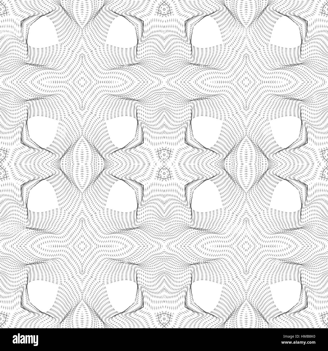 vector black glitch warped parametric shape surface waves white background decoration seamless pattern - Stock Image