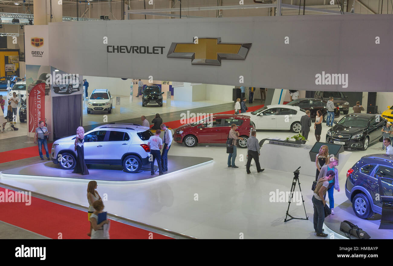 Exhibition Booth Sia : Kiev ukraine may visitors visit chevrolet booth with