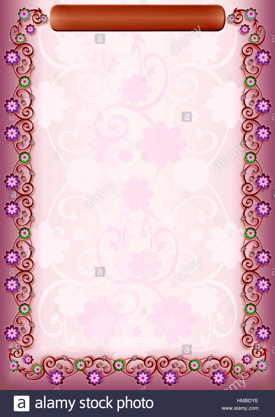 Pink Floral Portrait Frame With Flower Borders On Both Sides And