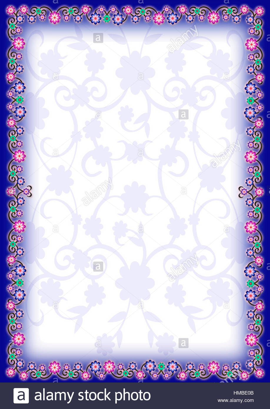 Blue Floral Portrait Frame With Lighter Blue Floral Same Pattern As