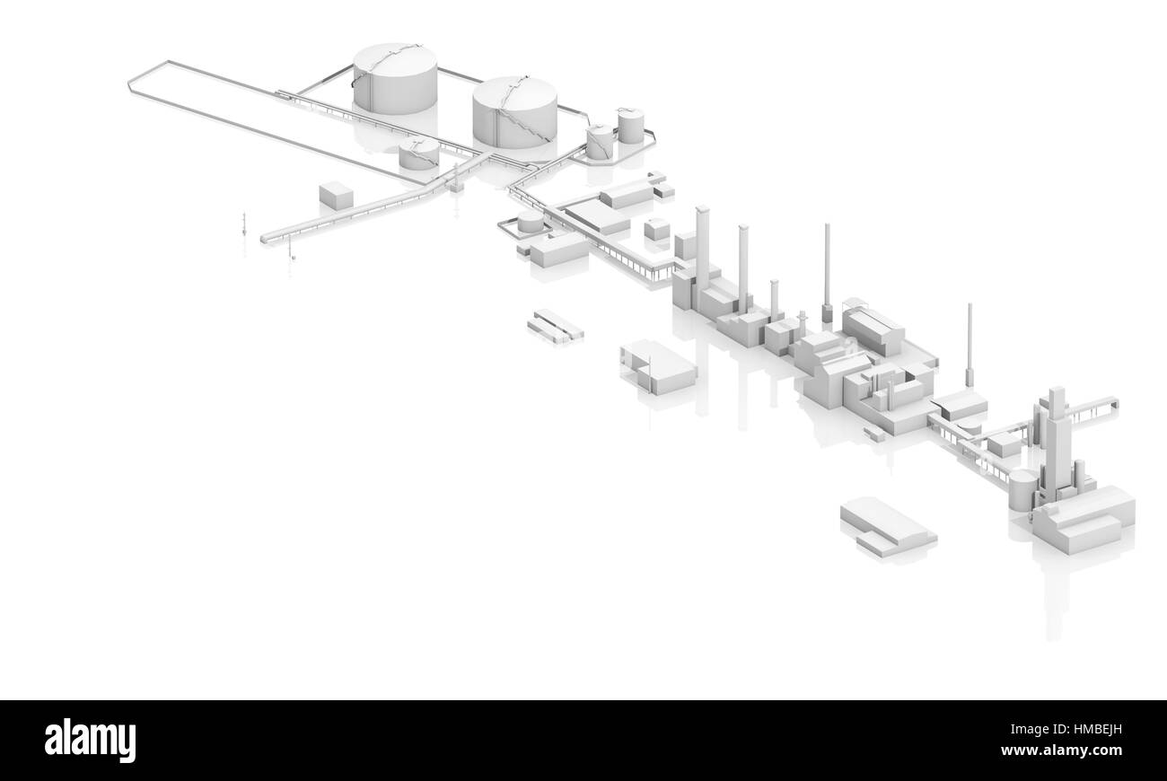 Modern industrial facility with tanks, chimneys and