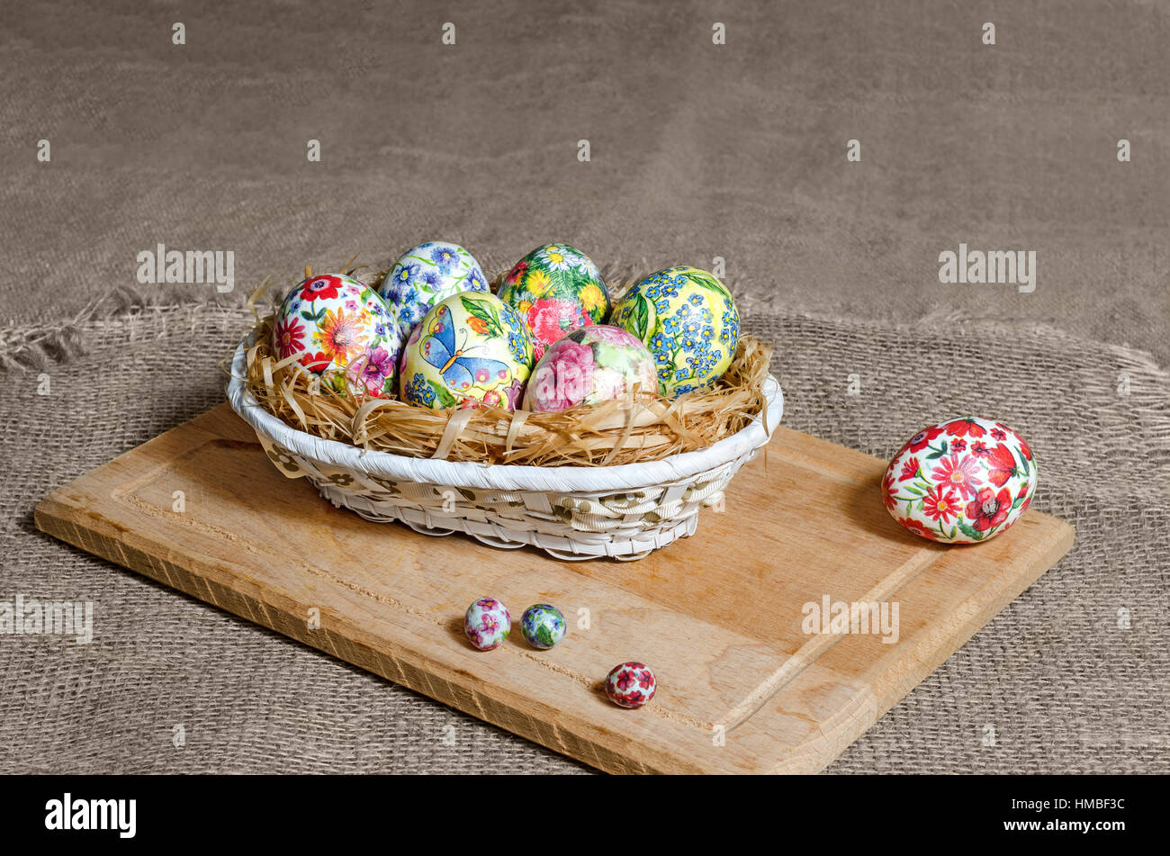 Decoupage Easter eggs are handmade in the basket Stock Photo