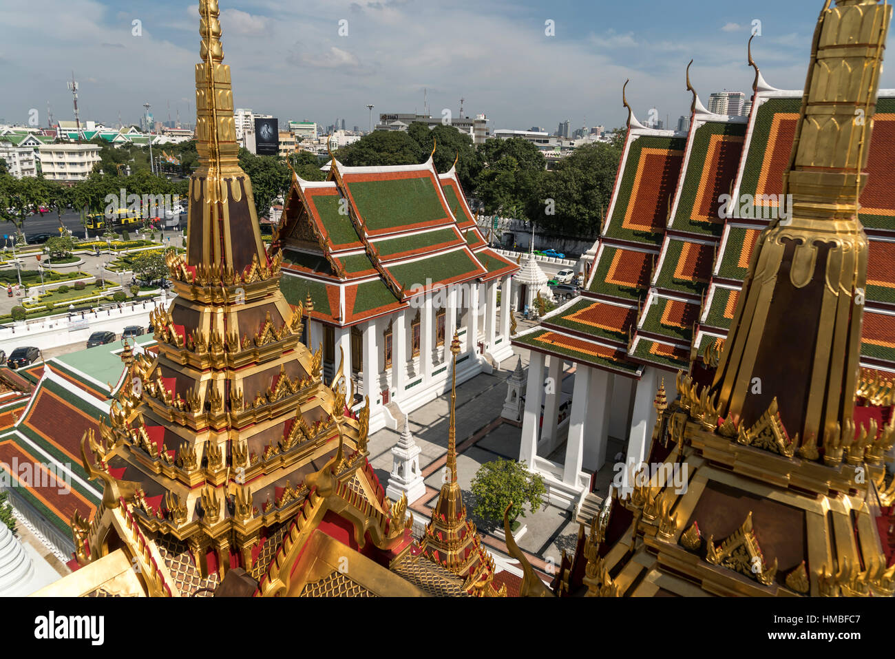 Wat Ratchanatdaram buddhist temple complex,  Bangkok, Thailand, Asia Stock Photo