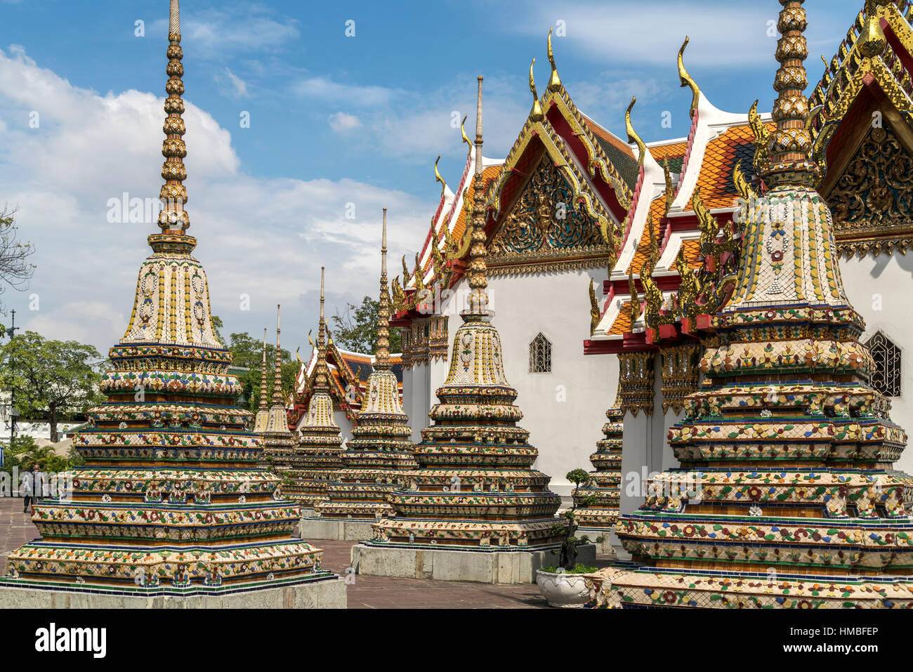 Chedi of the buddhist temple complex Wat Pho, Bangkok, Thailand, Asia - Stock Image