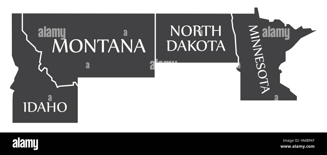Idaho - Montana - North Dakota - Minnesota Map labelled black illustration - Stock Vector