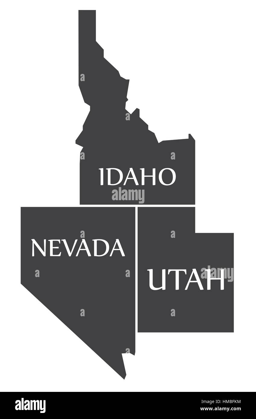 Idaho - Nevada - Utah Map labelled black illustration - Stock Image