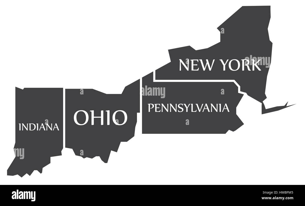 Map Of New York And Ohio.Indiana Ohio Pennsylvania New York Map Labelled Black Stock