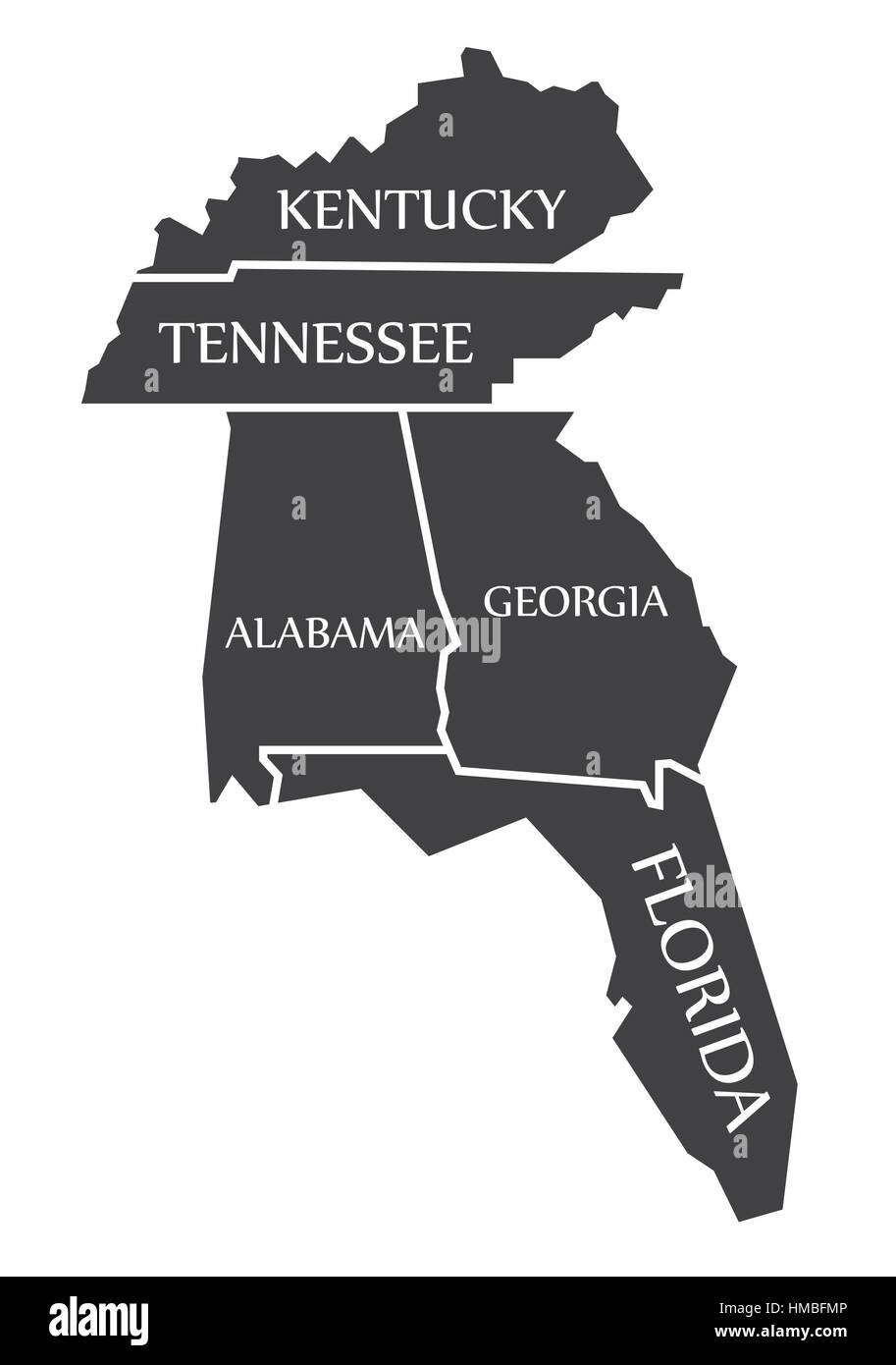 Kentucky - Tennessee - Alabama - Georgia - Florida Map labelled ...