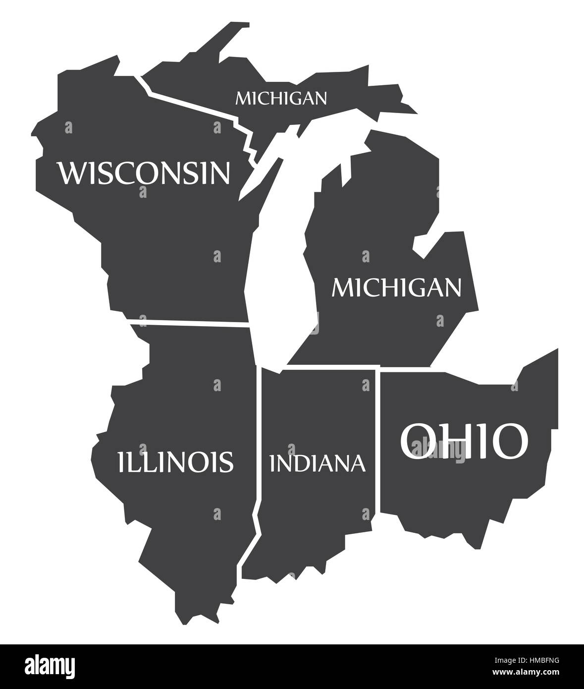 Michigan - Wisconsin - Illinois - Indiana - Ohio Map labelled black ...