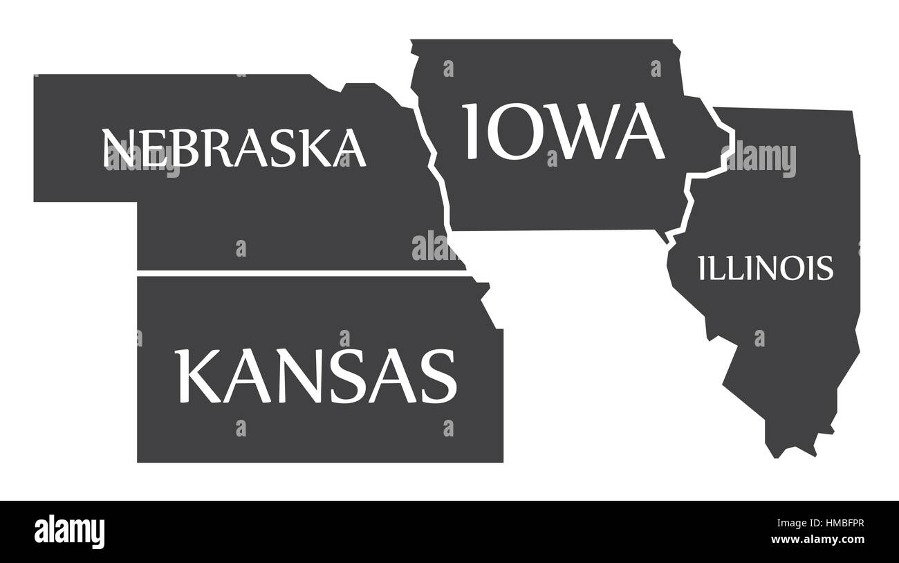 Nebraska - Kansas - Iowa - Illinois Map labelled black illustration - Stock Image