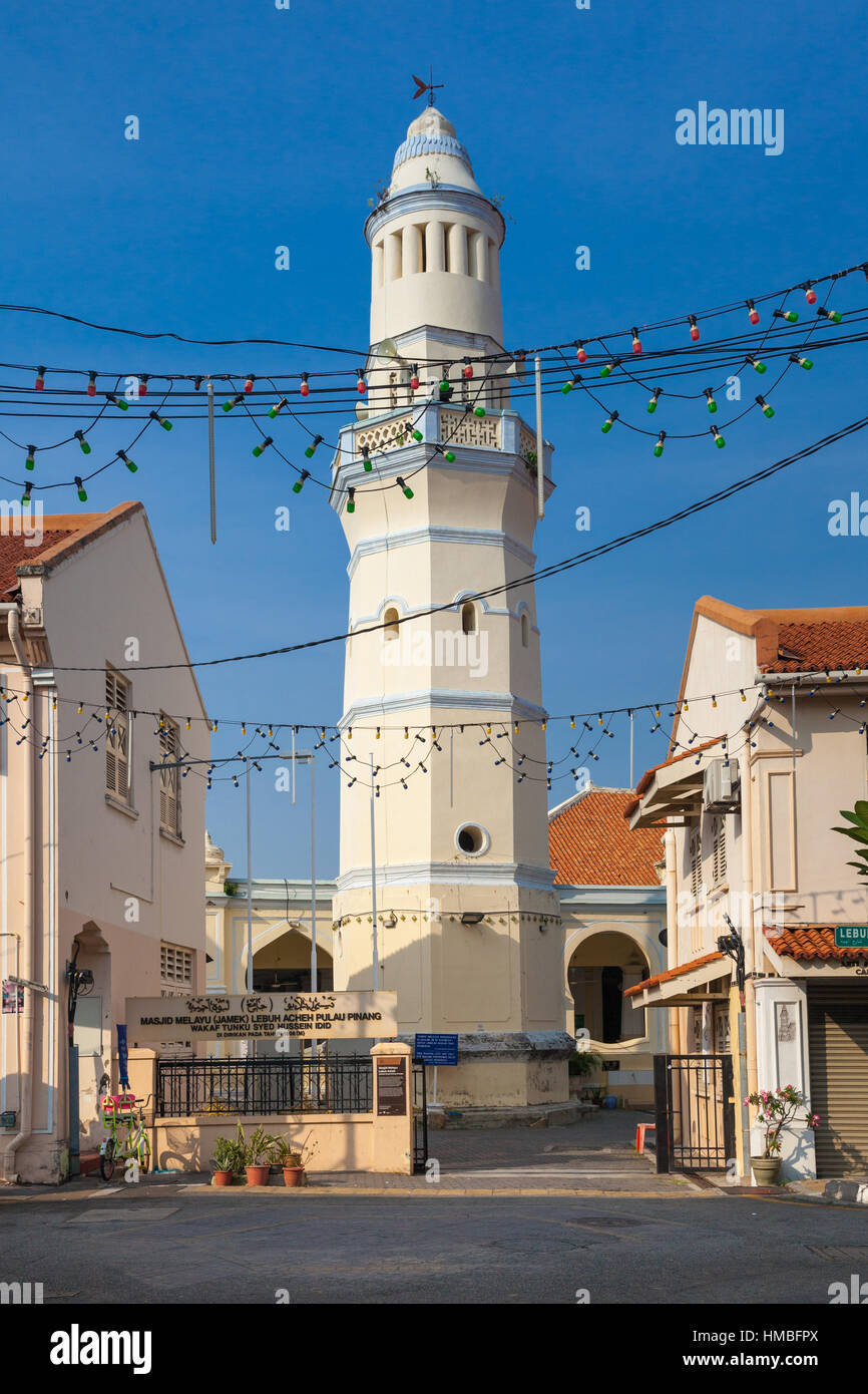 Minaret of the old Lebuh Aceh Mosque, UNESCO heritage site in George Town, Penang, Malaysia. - Stock Image