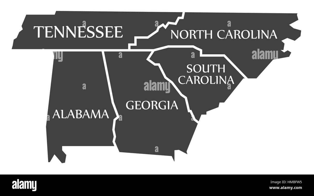 Map Of Georgia Tennessee And South Carolina.Tennessee North Carolina Alabama Georgia South