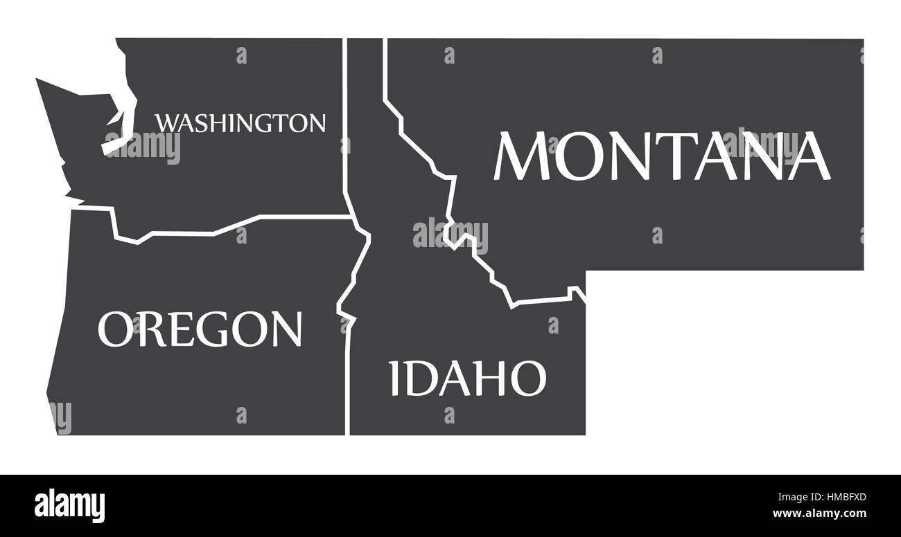 Washington - Oregon - Idaho - Montana Map labelled black illustration - Stock Image