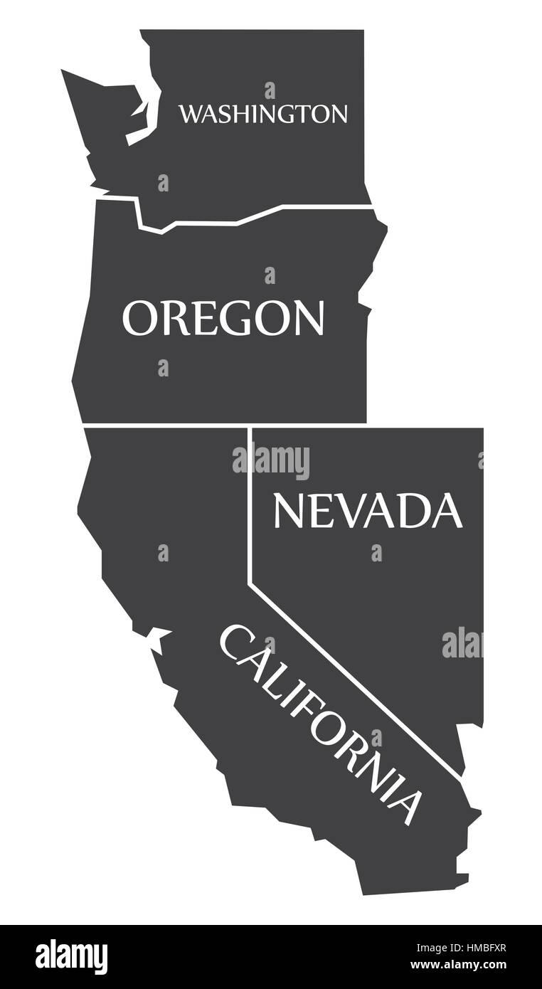 Washington Oregon Nevada California Map Labelled Black Stock