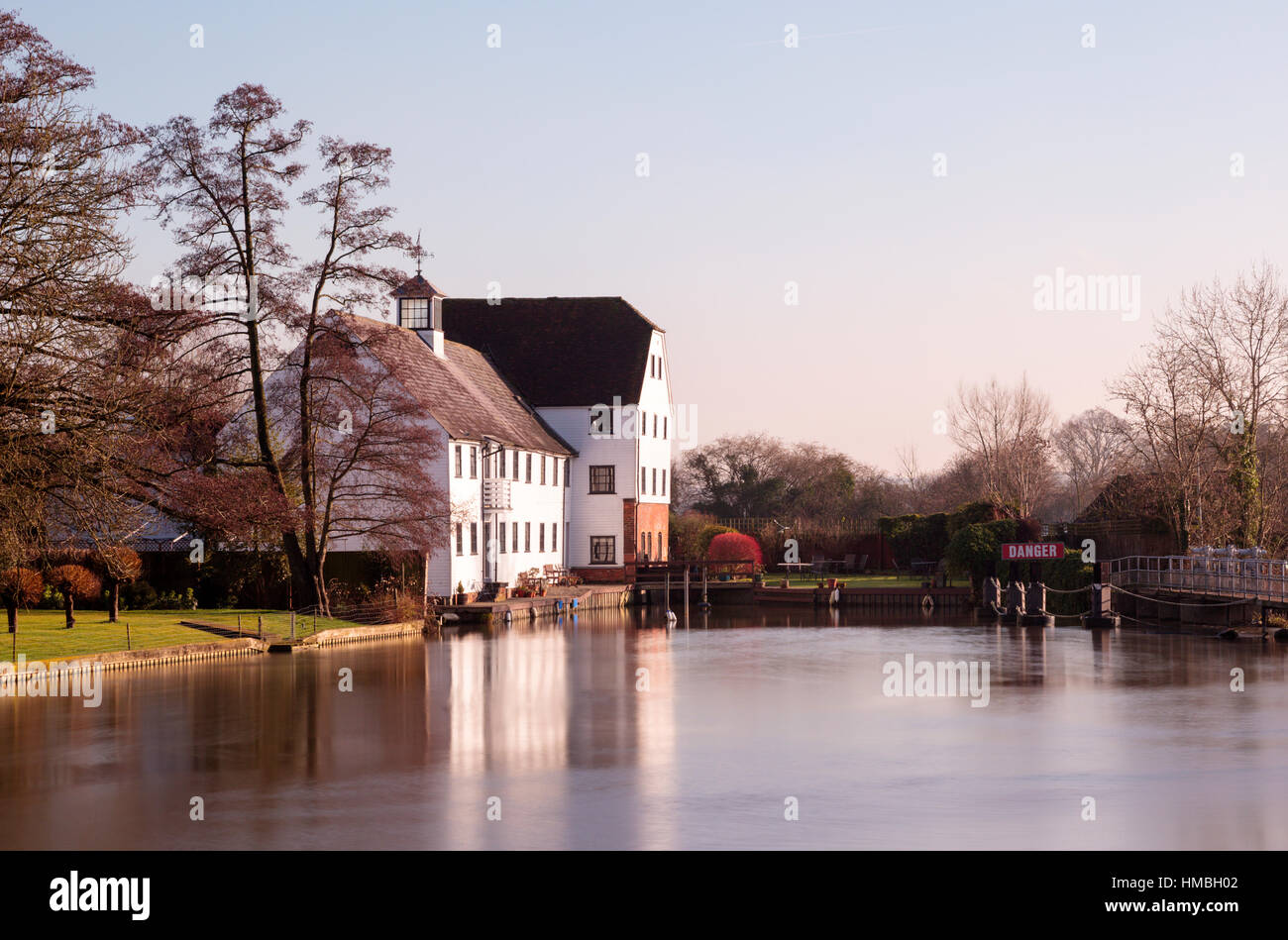 Hambleden Mill on the River Thames in Buckinghamshire between Henley-on-Thames and Marlow - now apartments - Stock Image
