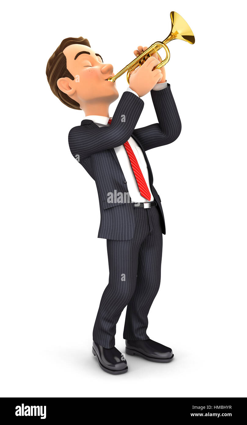 3d businessman playing trumpet, illustration with isolated white background Stock Photo