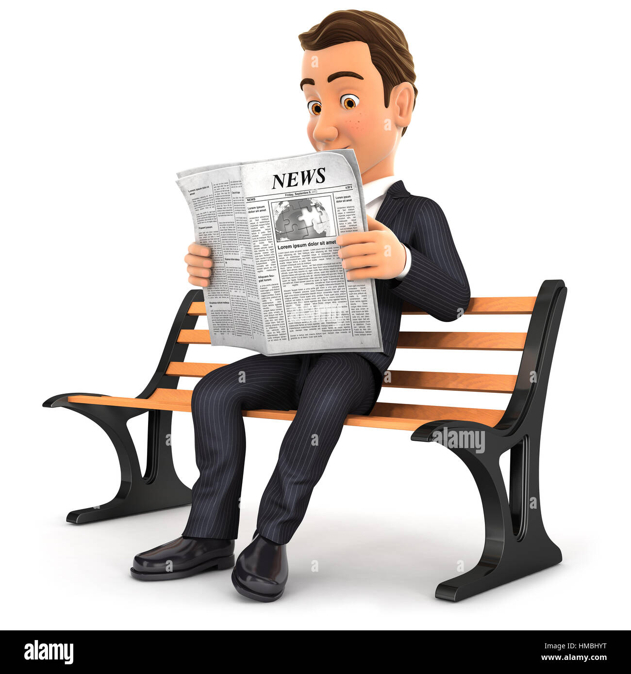 3d businessman reading newspaper on public bench, illustration with isolated white background Stock Photo