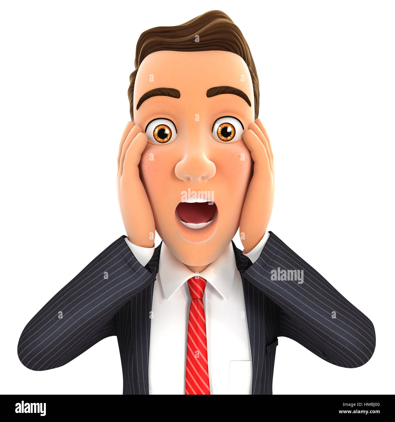 3d businessman surprise expression, illustration with isolated white background Stock Photo