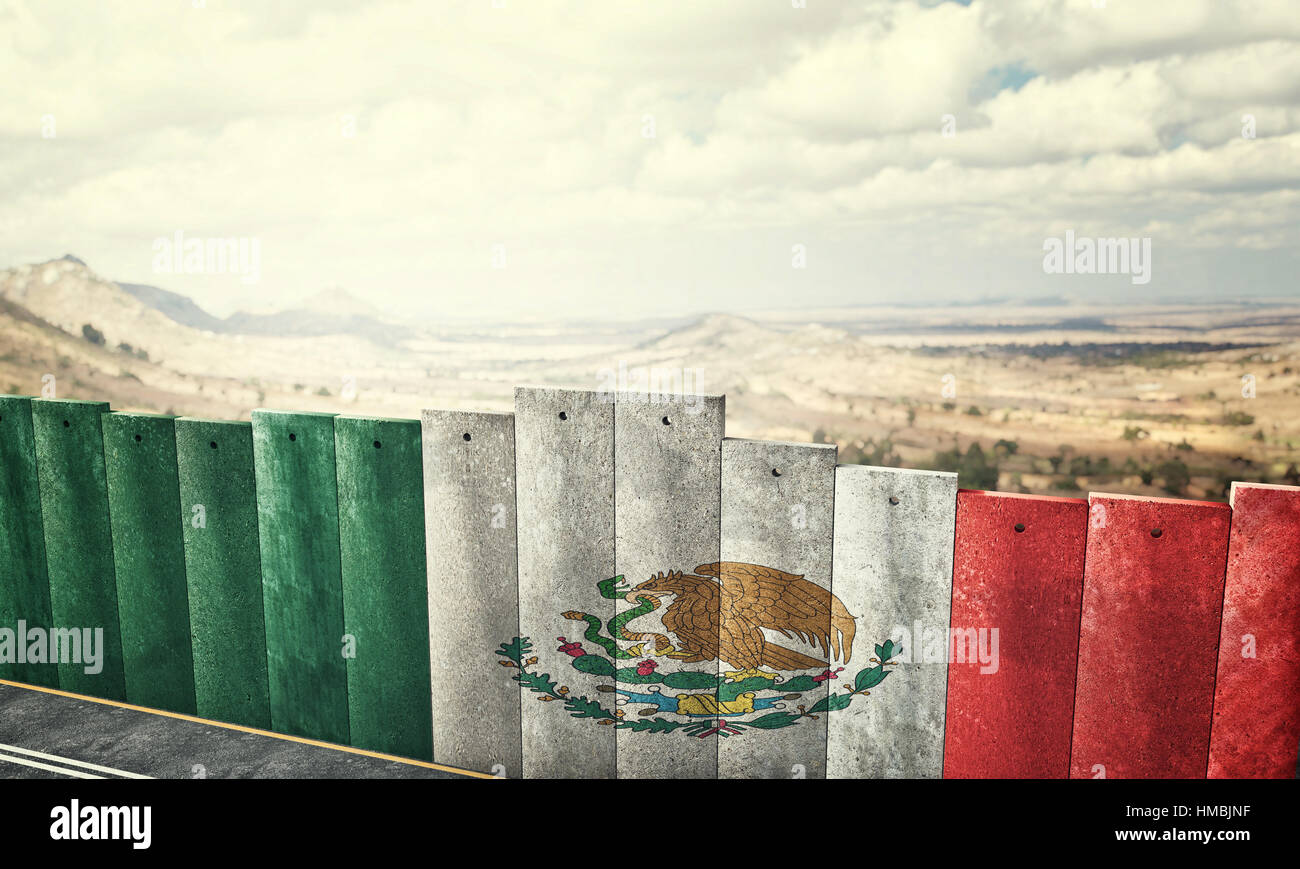 mexico border wall concept 3d rendering image - Stock Image