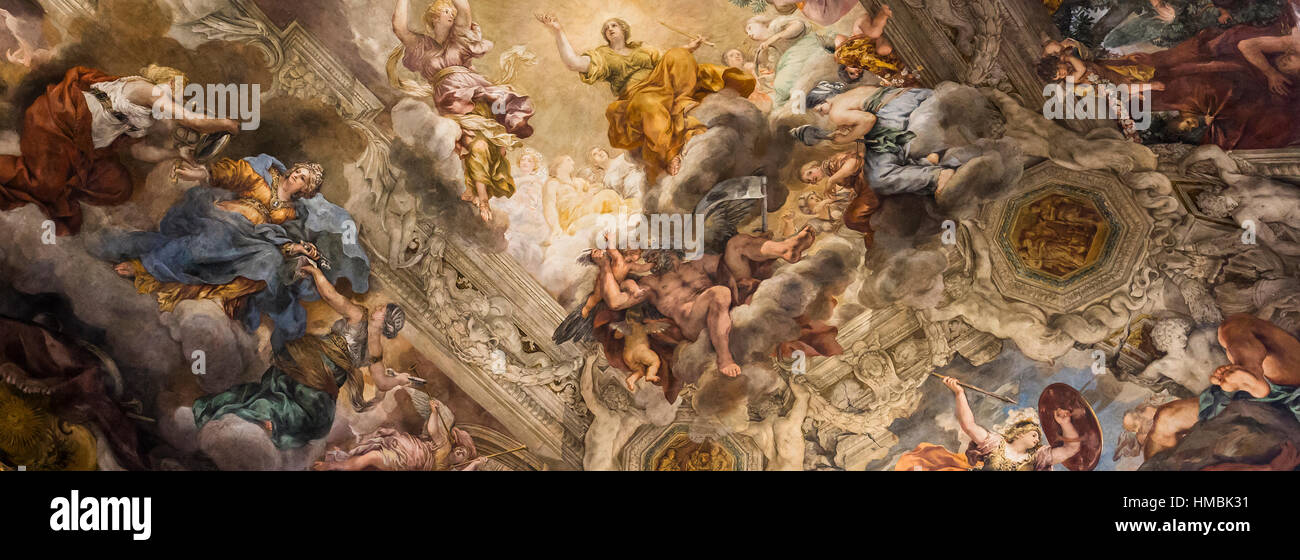 ROME, ITALY, JUNE 13, 2015 : Ceiling Fresco by Pierre de Cortone, Palazzo Barberini, june 13, 2015, in Rome, Italy Stock Photo