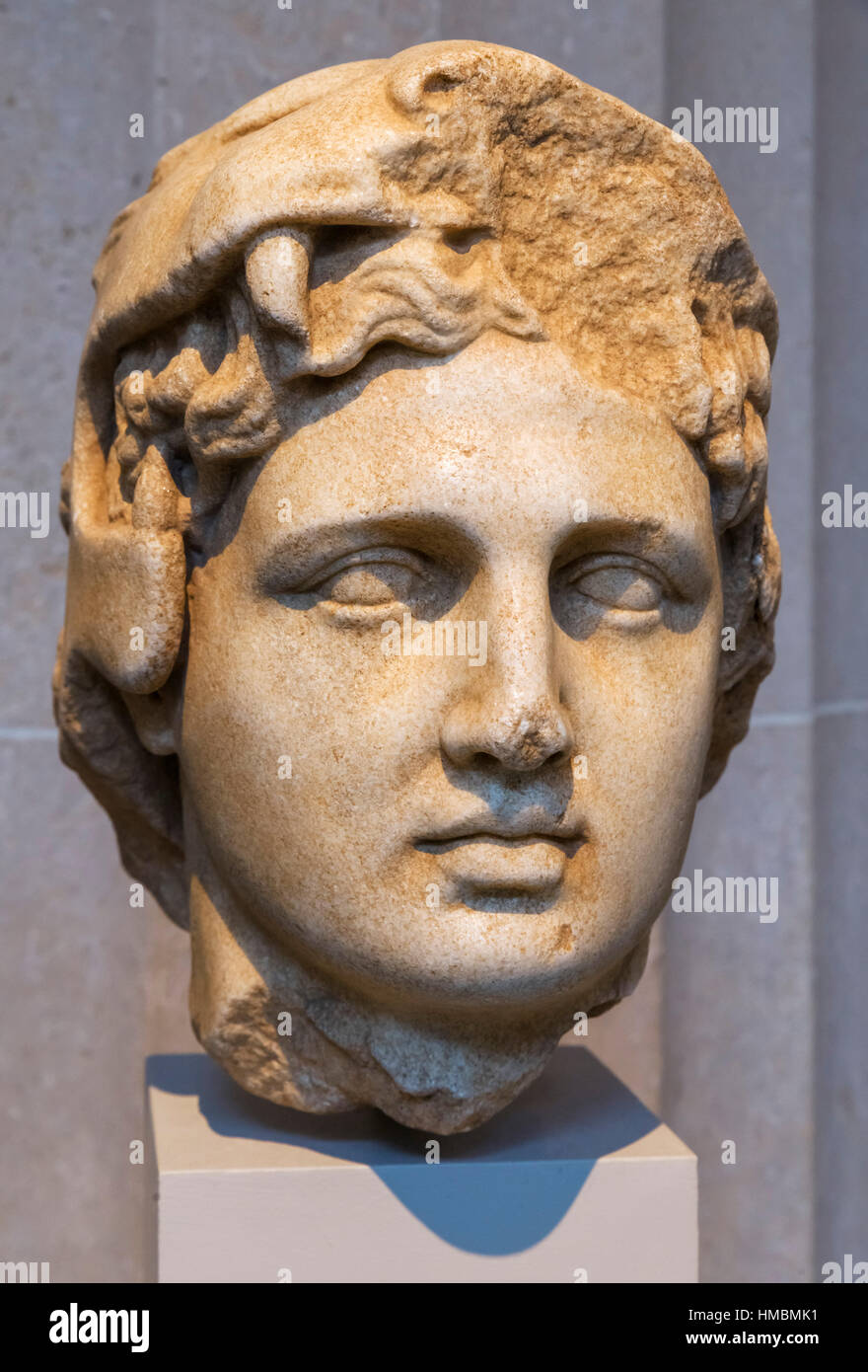 Alexander the Great. Marble head of Alexander as Herakles, late 4th-3rd Century BC - Stock Image