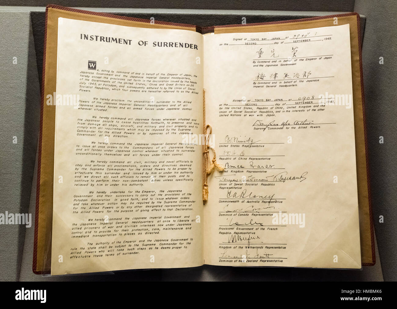Facsimile copy of the Japanese Instrument of Surrender which marked the end of World War II, West Point Museum, - Stock Image