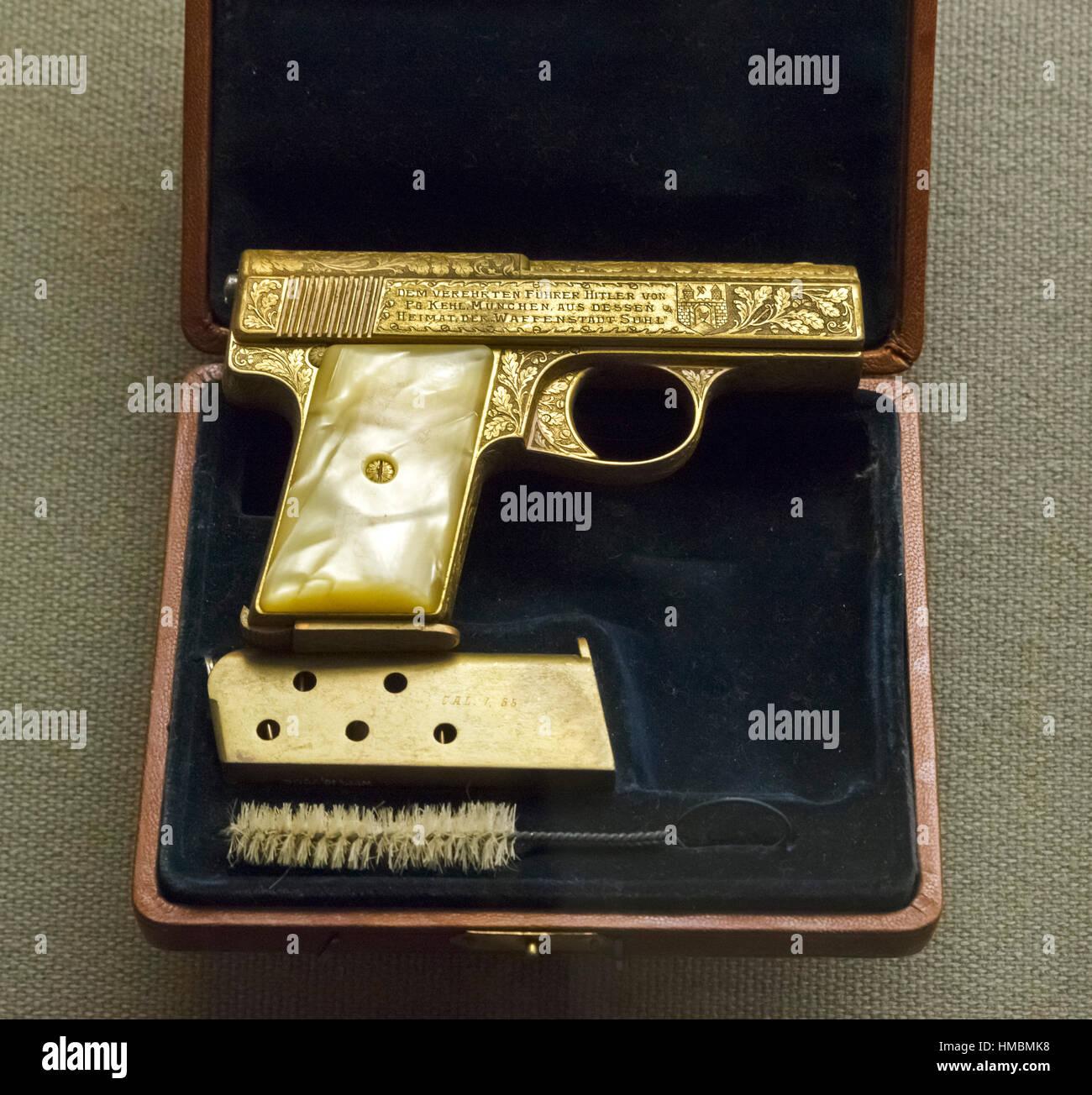 Adolf Hitler's Pistol. Liliput, Model I, .32 caliber pistol given to Adolf Hitler by Nazi Party member Max Kehl - Stock Image