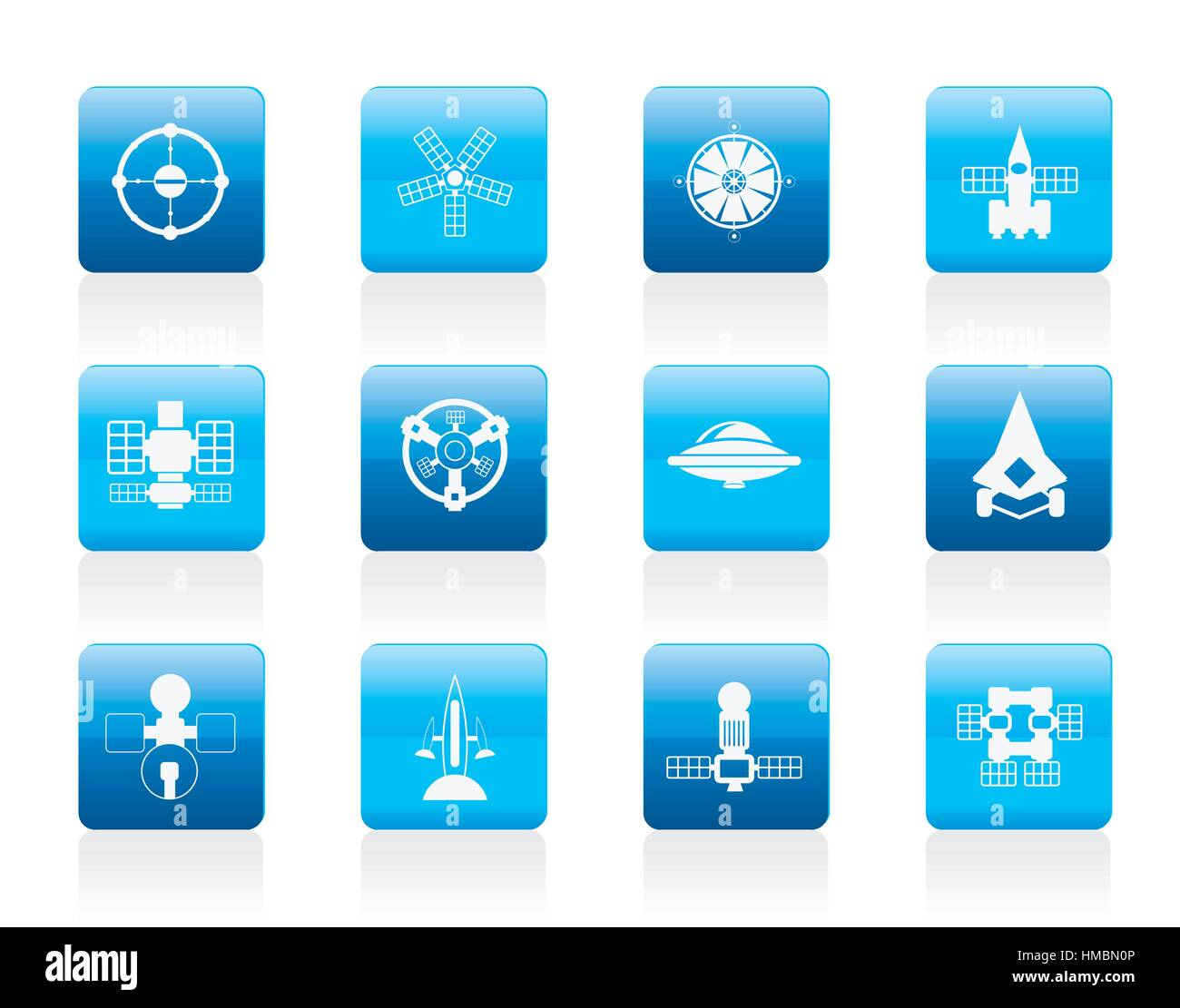 different kinds of future spacecraft icons - Stock Image