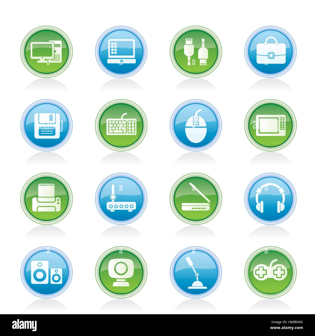 Computer equipment and periphery icons - Stock Image