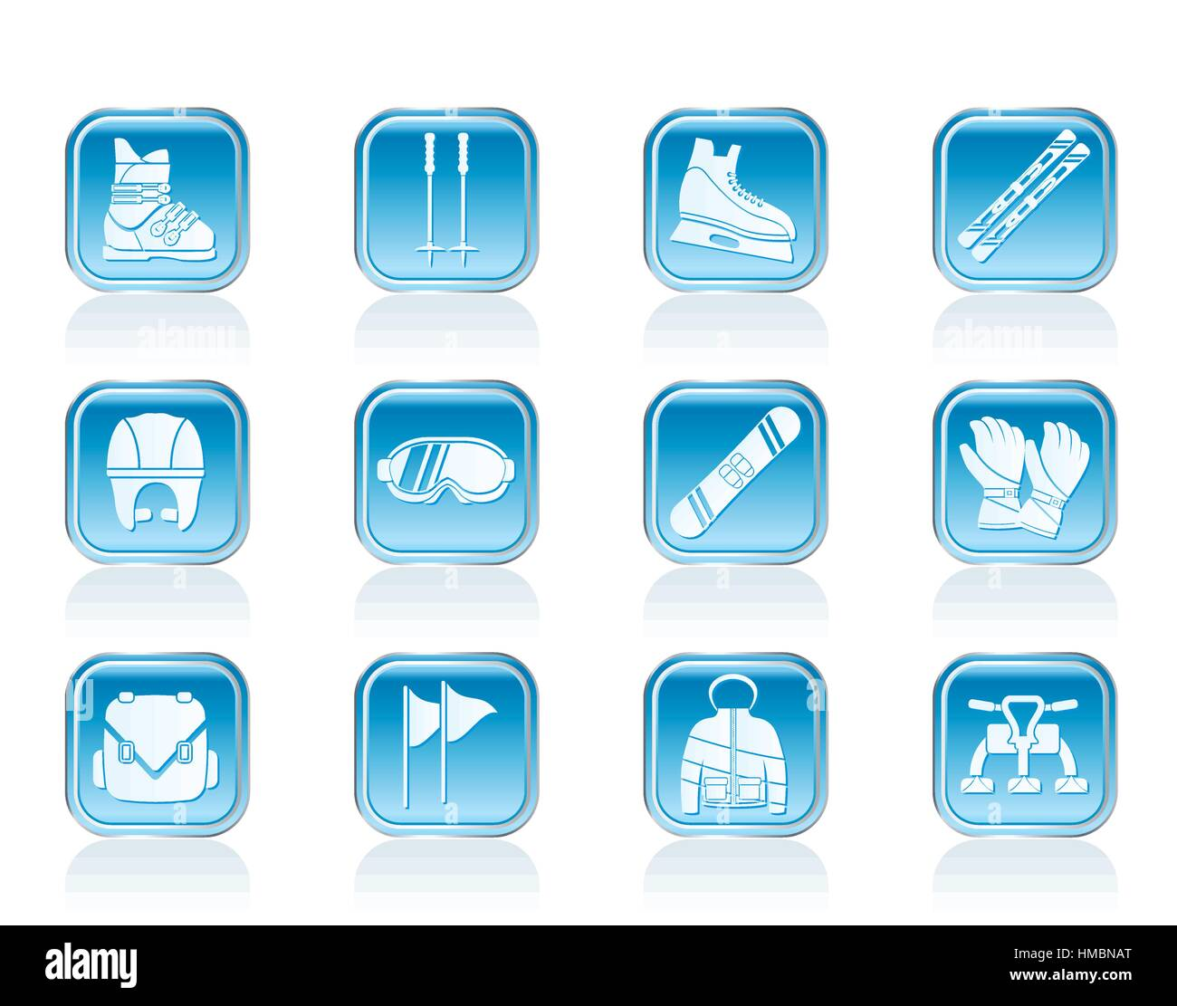 ski and snowboard equipment icons - Stock Image