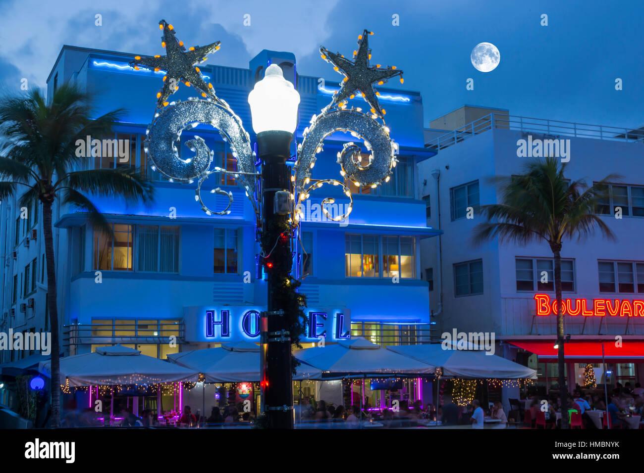 christmas decorations street lamp hotels ocean drive south beach miami beach florida usa stock image
