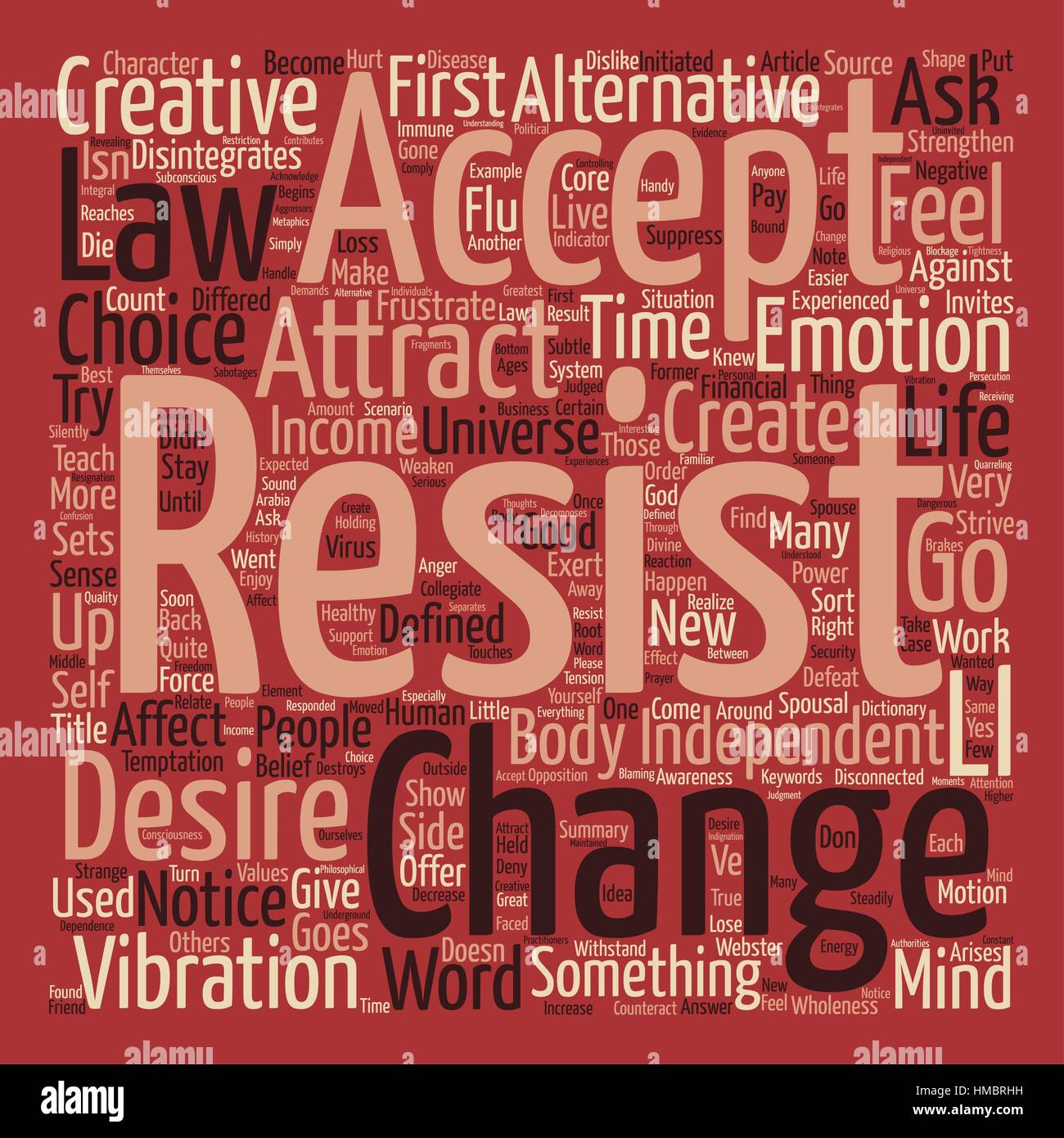 Create Resistance or Creative Acceptance Word Cloud Concept Text Background Stock Vector