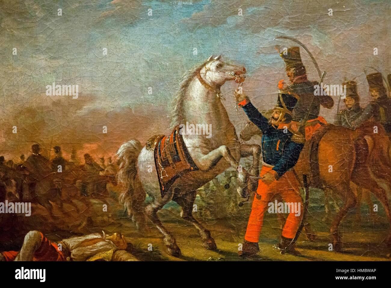 Carlos Morel, Carga de caballeria (Federal army cavalry charge), 1829, oil on canvas, Museo Nacional de Bellas Artes - Stock Image