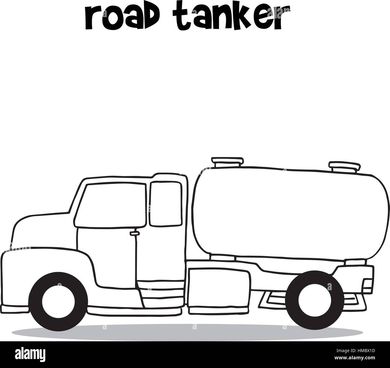 Road tanker with hand draw Stock Vector Art & Illustration, Vector ...