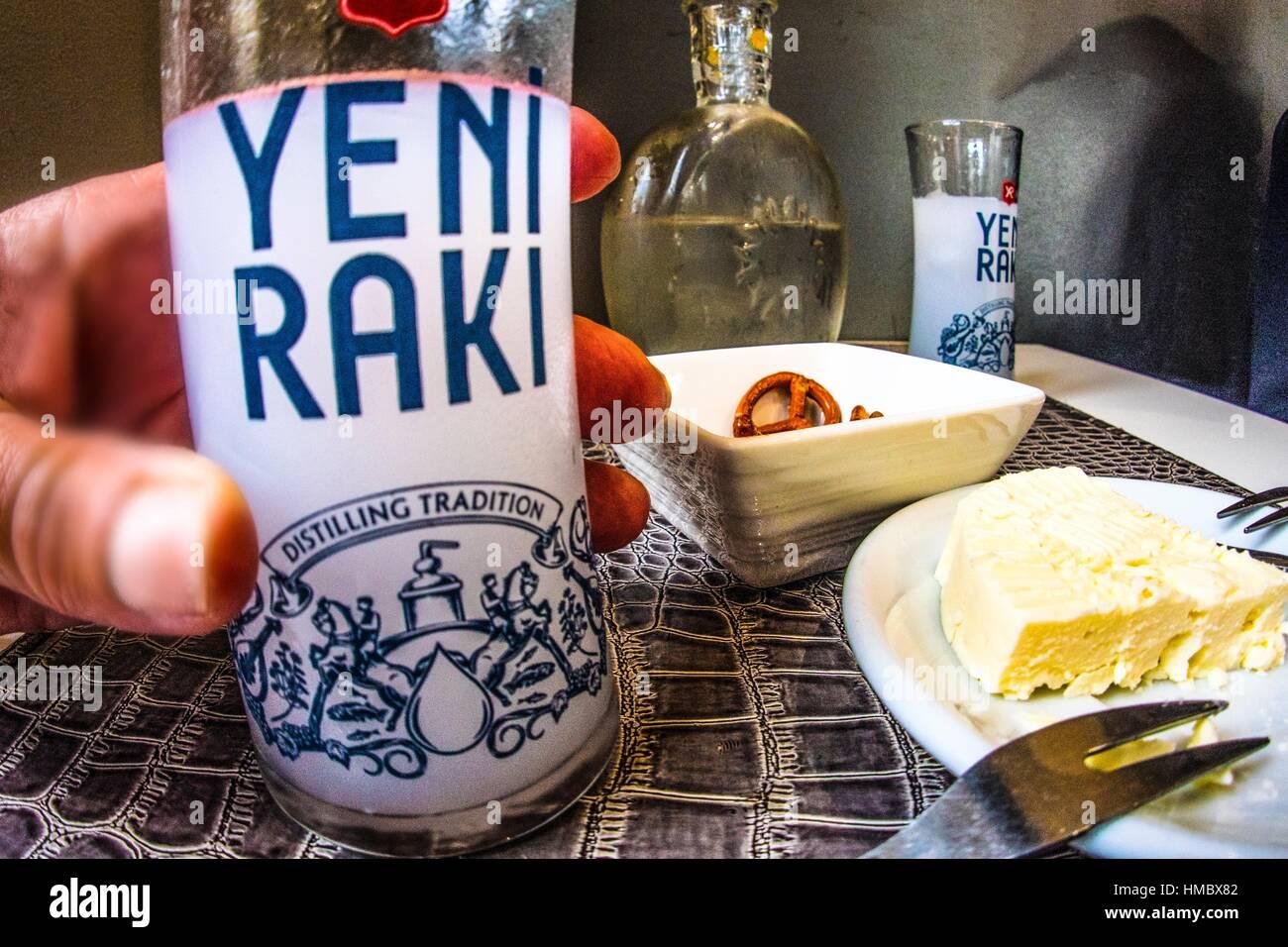 Raki, anise-flavored alcoholic drink, Turkey - Stock Image