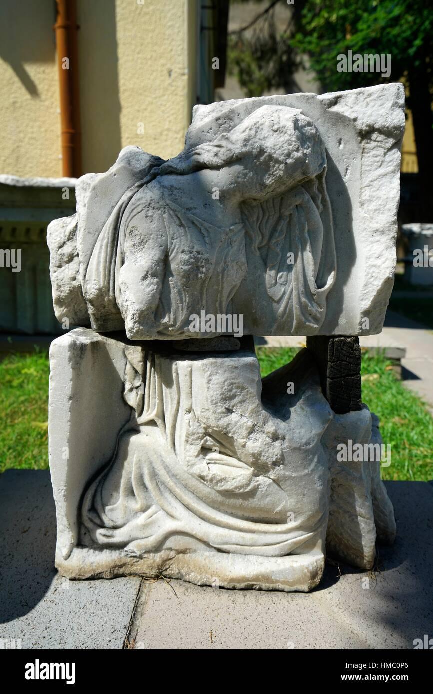 Sarcophagus Sculpture fragment (Hellenistic Period). Bergama Museum. Ancient Classic Greece. Asia Minor. Turkey. - Stock Image