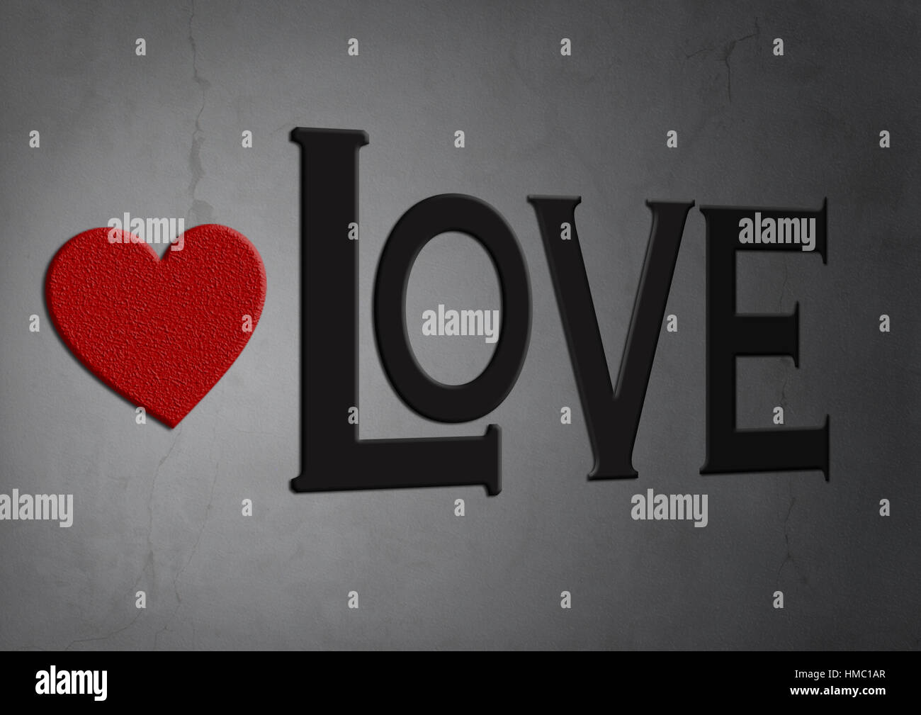 red heart of stone on concrete texture background with word love Stock Photo