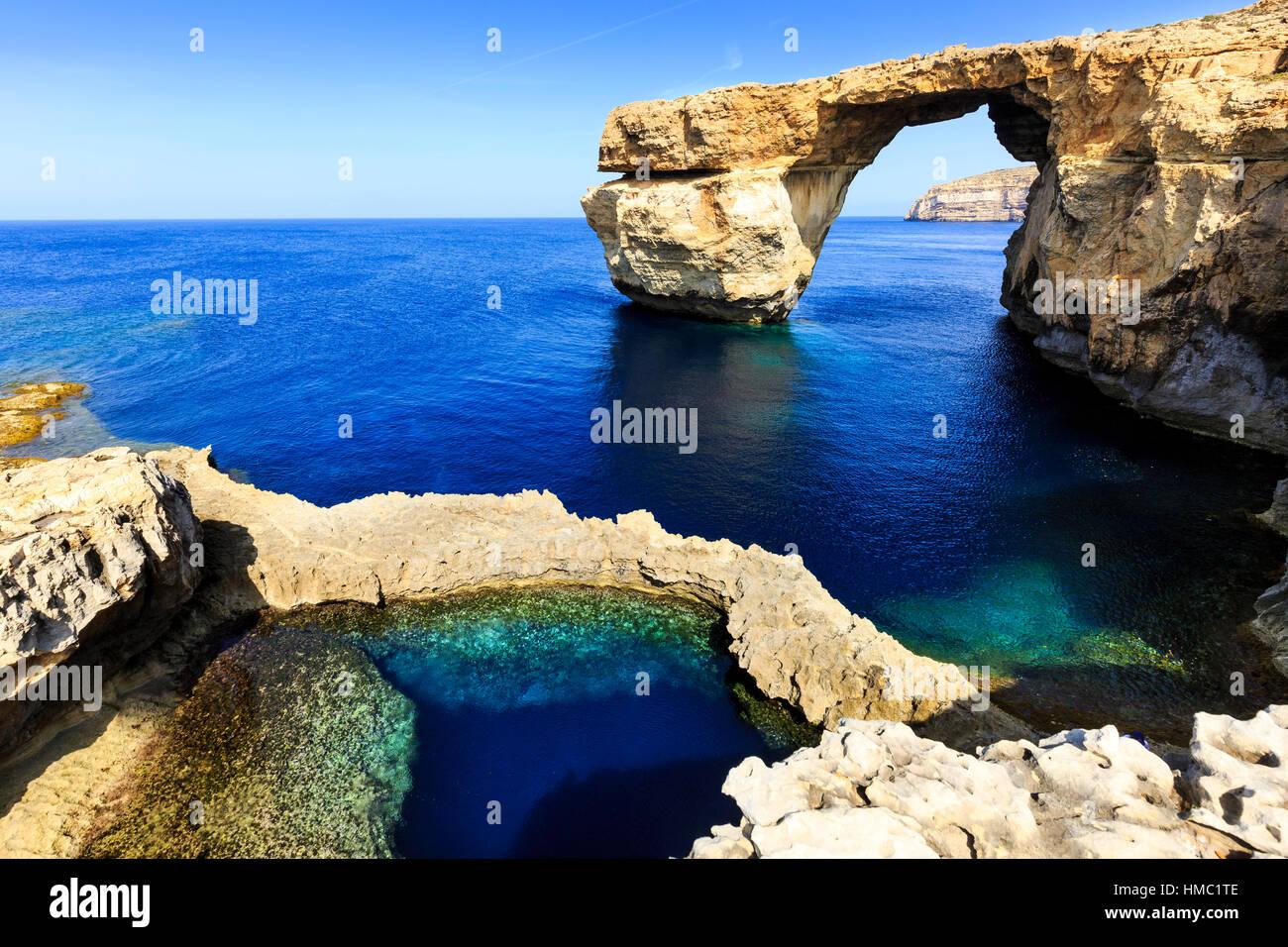 the blue hole and azure window, gozo, malta - Stock Image