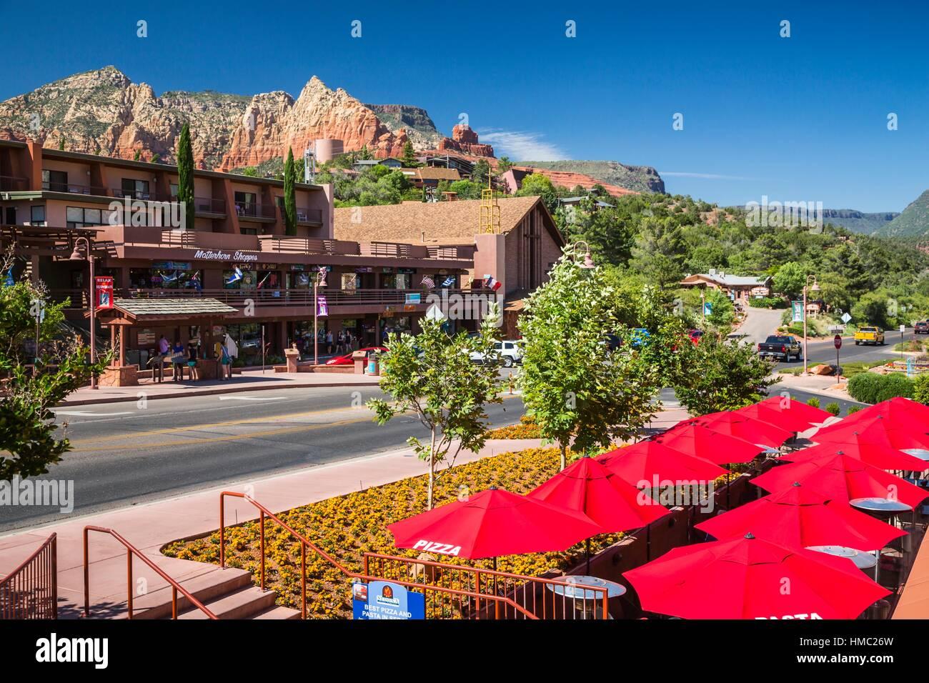Shops And Restaurants In Downtown Sedona Arizona Usa Stock