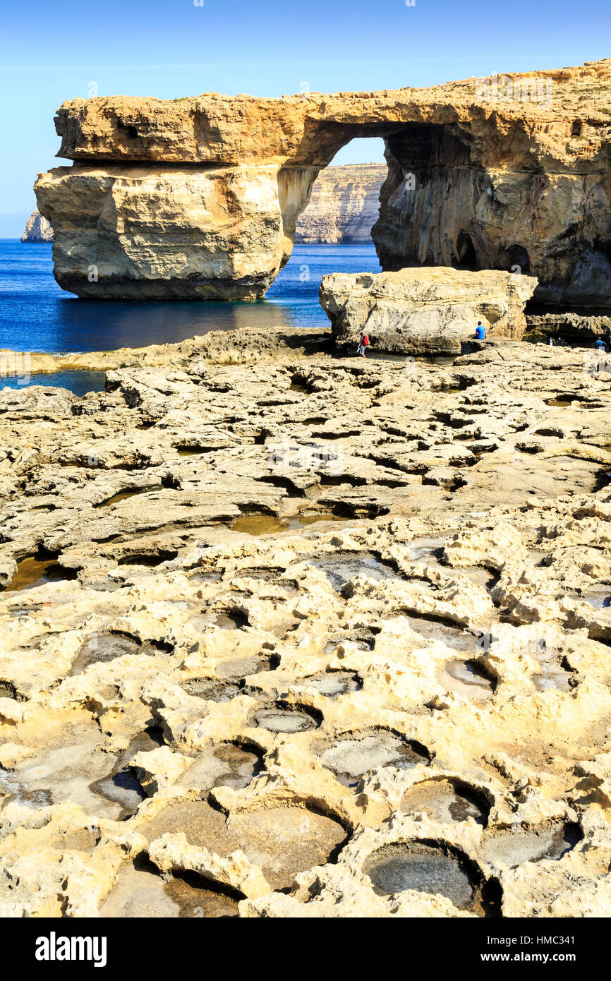 eroded rock and the natural arch of the azure window, gozo, malta Stock Photo