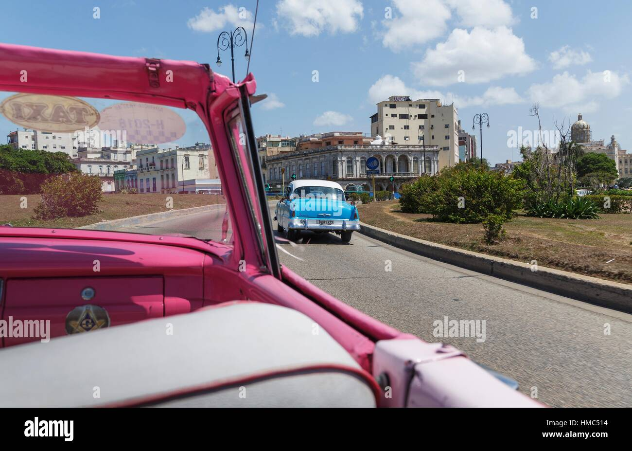 Old car on the Malecon, Havana, Cuba - Stock Image