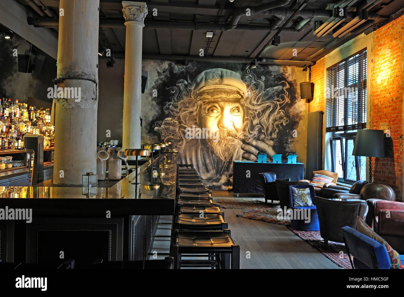 Boilerman, bar of the 25hours Hotel Hamburg Altes Hafenamt, Osakaallee 12, HafenCity quarter, Hamburg, Germany, - Stock Image