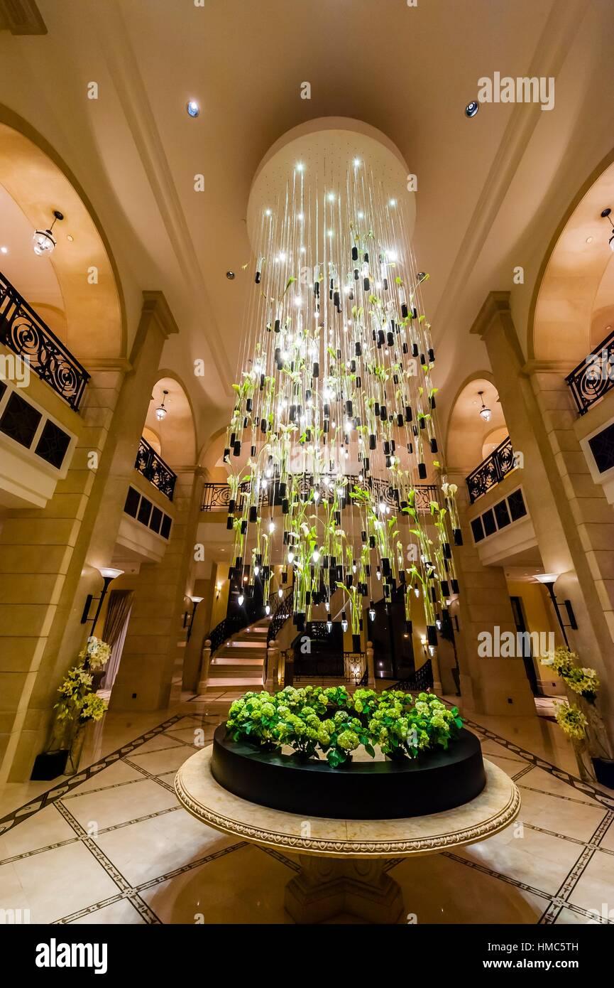 Chandelier in lobby of the Four Seasons Hotel Amman, Amman, Jordan. Stock Photo