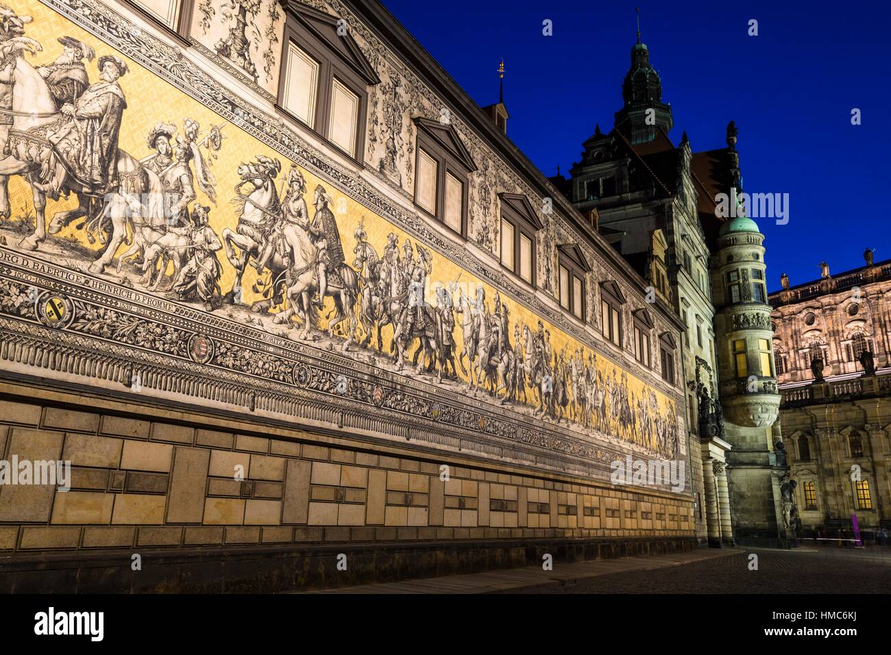 The Procession of Dukes, a parade of rulers of the house of Saxe-Wettin made of Meissen porcelain tiles, with the - Stock Image