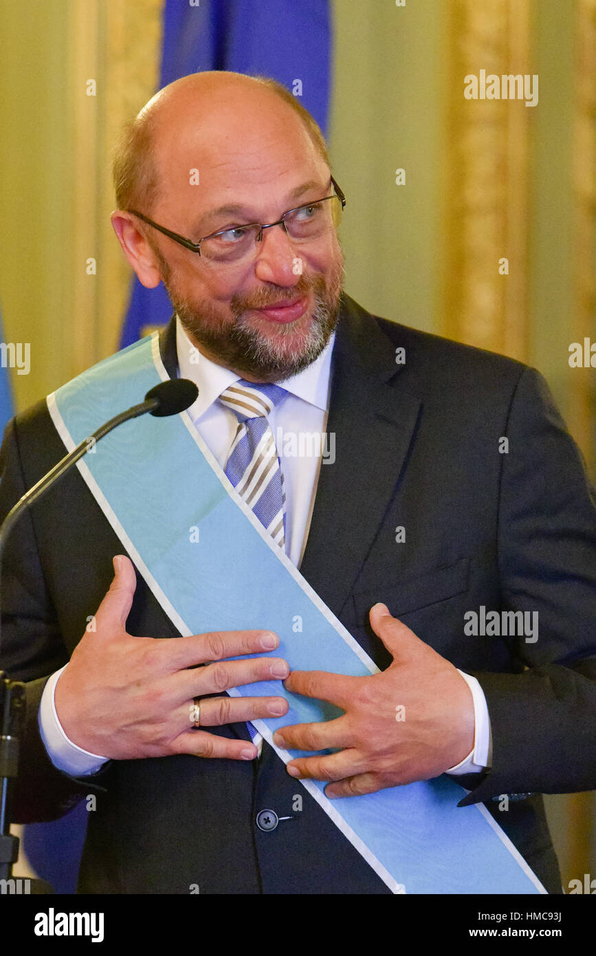 Buenos Aires, Argentina. 22 Aug, 2016. President of the European Parliament Martin Schulz during a visit to Argentina. - Stock Image