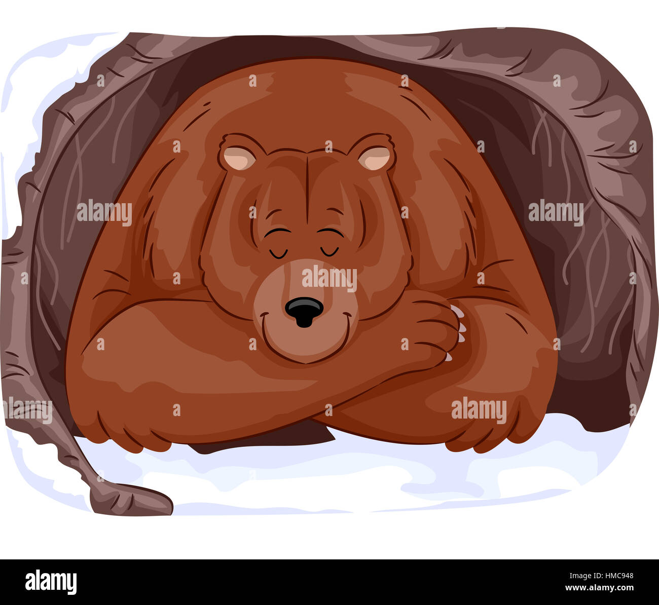 Animal Illustration of a Large Grizzly Bear Hibernating in a Cave During Winter - Stock Image