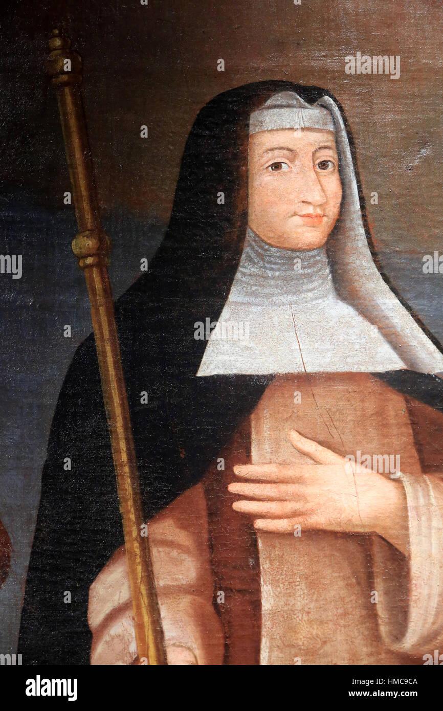 Sainte-Brigitte de Suède, patronne des Pèlerins. Huile sur toile. WVIII ème siècle. Musée - Stock Image