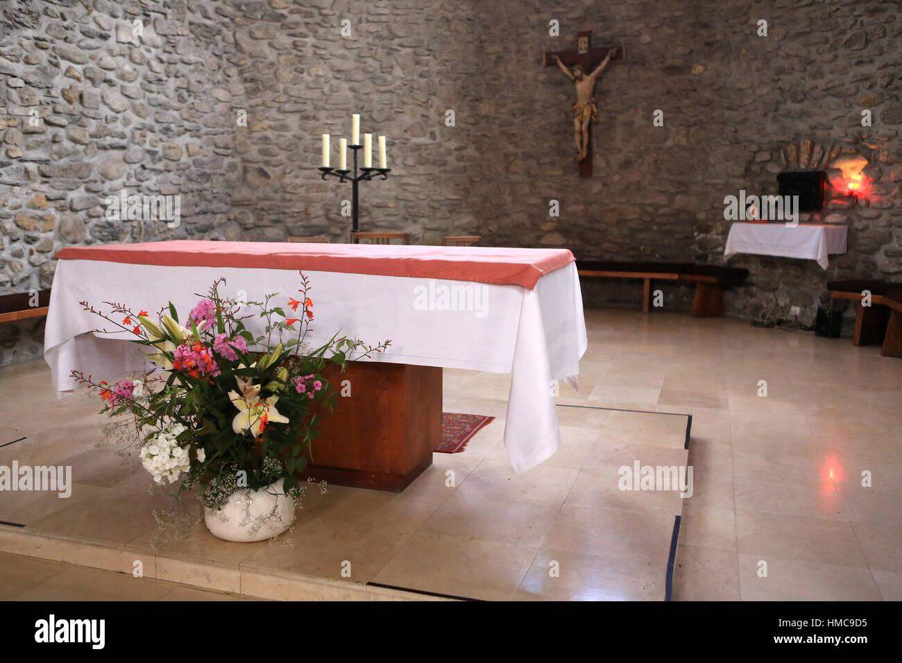 Autel. Eglise Sainte-Marie Madeleine. Praz-sur-Arly. France. Stock Photo