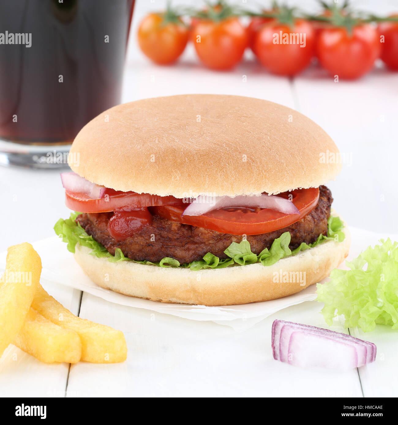 Hamburger burger menu meal combo cola drink fast food Stock Photo