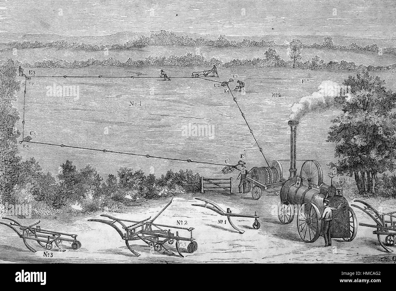 A steam plow is a steam powered plow. It was invented in the middle of the 19th century and was a first step in - Stock Image